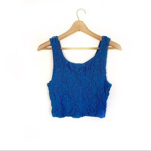 Urban Outfitters Blue Lace Cropped Tank Top
